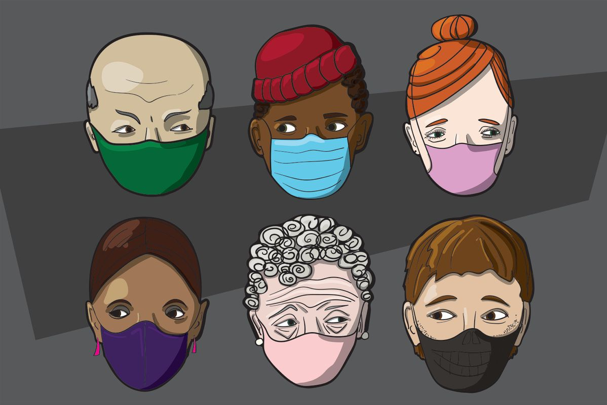 people of different races and ages wearing masks
